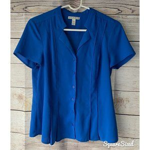 Cobalt blue blouse w/flattering pleats EUC Small